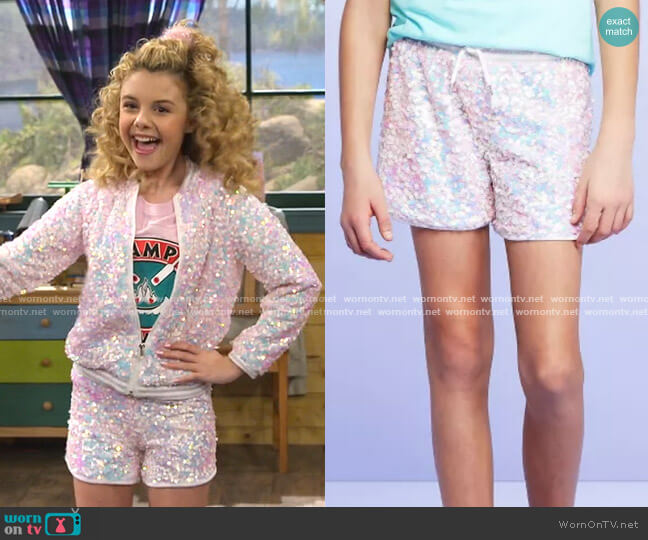 Sequin Shorts by More Than Magic at Target worn by Destiny Baker (Mallory James Mahoney) on Bunkd