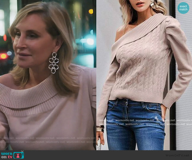 Off Shoulder Cable Knit Sweater by Sonja worn by Sonja Morgan  on The Real Housewives of New York City