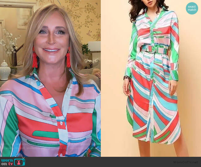 Multicolor Belted Midi Shirt Dress by Sonja worn by Sonja Morgan  on The Real Housewives of New York City