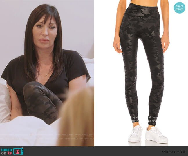 Faux Leather Camo Legging by Spanx worn by Elyse Slaine on The Real Housewives of New York