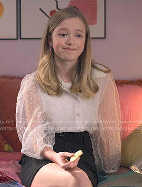 Stacey's white dotted sheer blouse on The Baby-Sitters Club
