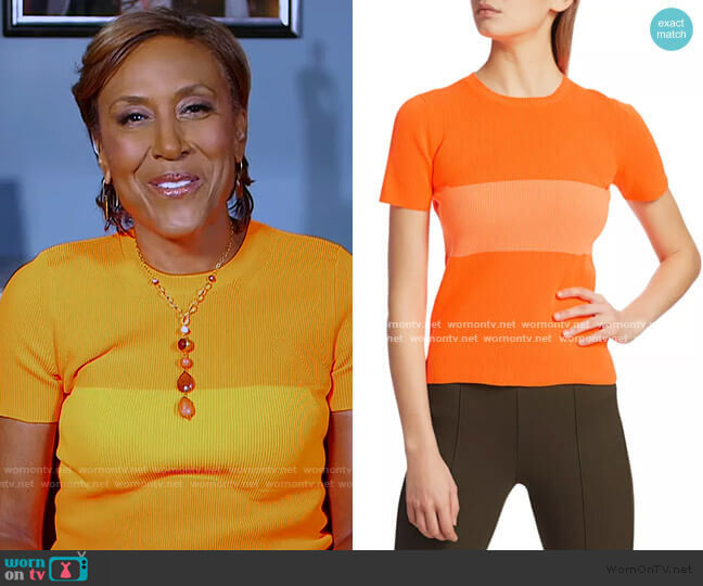 Striped T-Shirt by Helmut Lang worn by Robin Roberts  on Good Morning America