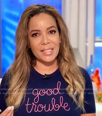 Sunny's blue good trouble sweater on The View