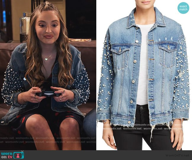 Embellished Denim Jacket by Sunset & Spring worn by Brooke Bishop (Bella Podaras) on The Expanding Universe of Ashley Garcia