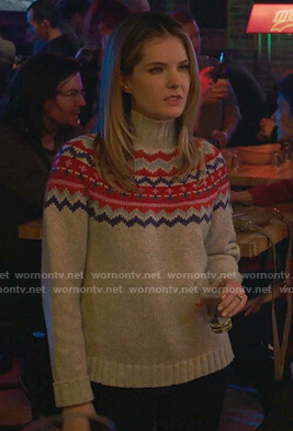 Sutton's grey fair isle turtleneck sweater on The Bold Type