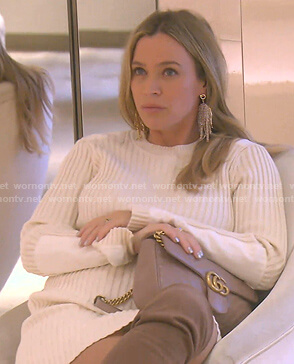Teddi's white ribbed knit dress on The Real Housewives of Beverly Hills