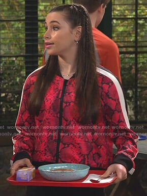 Tess's red snake print track jacket on Bunkd