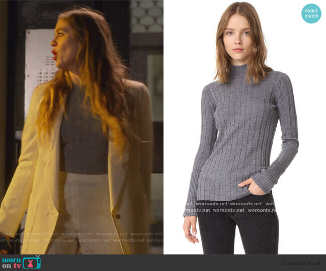 Wide Rib Mock Sweater by Theory worn by McAfee (Laura Dreyfuss) on The Politician