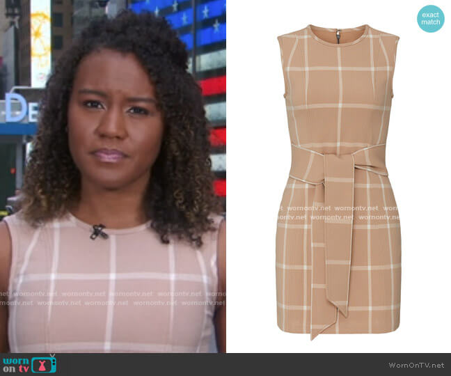 Plaid Front Tie Sheath by Toccin worn by Janai Norman  on Good Morning America