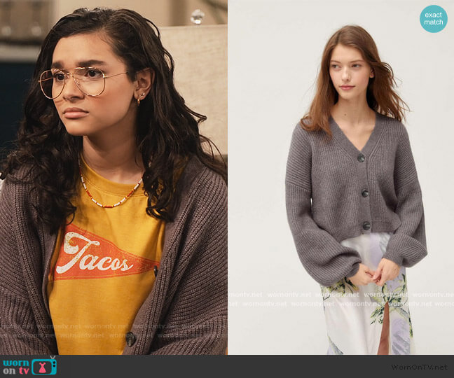 Pip Slouchy Balloon Sleeve Cardigan by Truly Madly Deeply at Urban Outfitters worn by Ashley Garcia (Paulina Chávez) on The Expanding Universe of Ashley Garcia