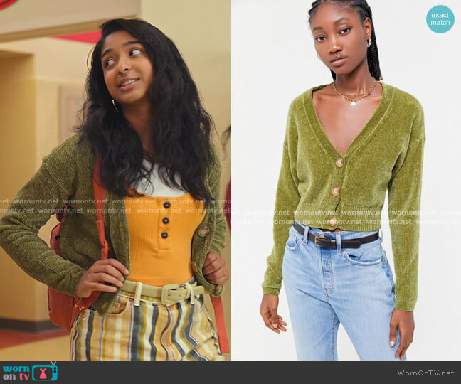 Honey Plush Cropped Cardigan by Urban Outfitters worn by Devi Vishwakumar (Maitreyi Ramakrishnan) on Never Have I Ever