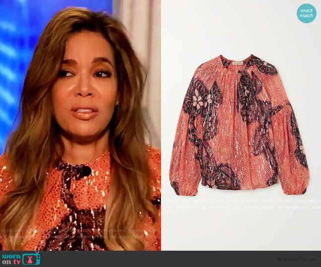 Sanya printed fil coupe silk and Lurex-blend blouse by Ulla Johnson worn by Sunny Hostin  on The View