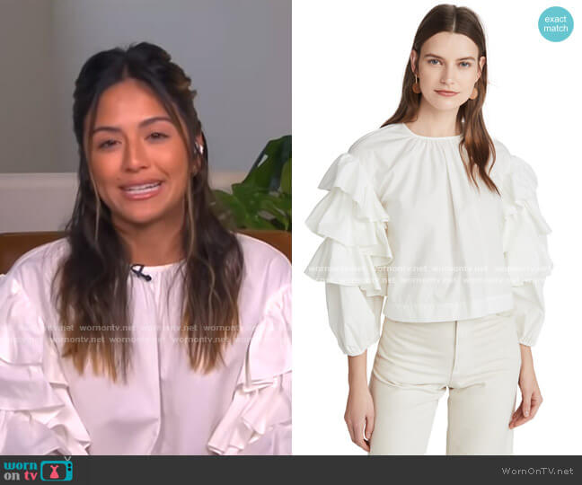 Tulia Ruffle Sleeve Blouse by Ulla Johnson worn by Erin Lim  on E! News