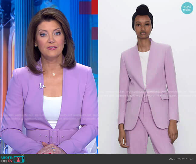 V-Neck Blazer by Zara worn by Norah O'Donnell  on CBS Evening News