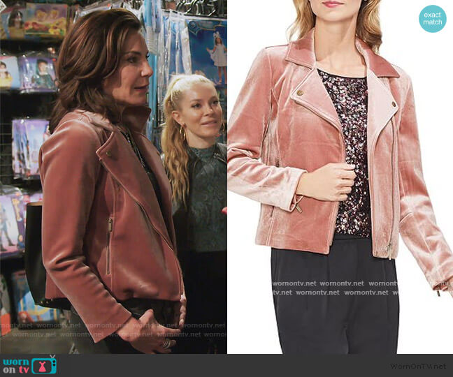 Velvet Moto Jacket by Vince Camuto worn by Luann de Lesseps  on The Real Housewives of New York City