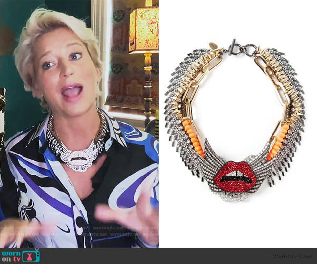 Lip Embellished Necklace by Venna worn by Dorinda Medley  on The Real Housewives of New York City