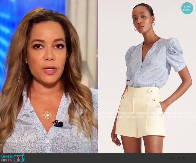 Garland Puffed-Sleeve Top by Veronica Beard worn by Sunny Hostin  on The View