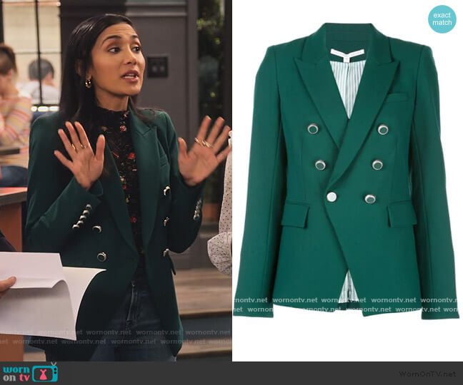 Miller Dickey double-breasted Jacket by Veronica Beard worn by Hina Abdullah on The Expanding Universe of Ashley Garcia