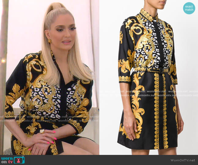 Signature Print Shirt Dress by Versace worn by Erika Girardi  on The Real Housewives of Beverly Hills