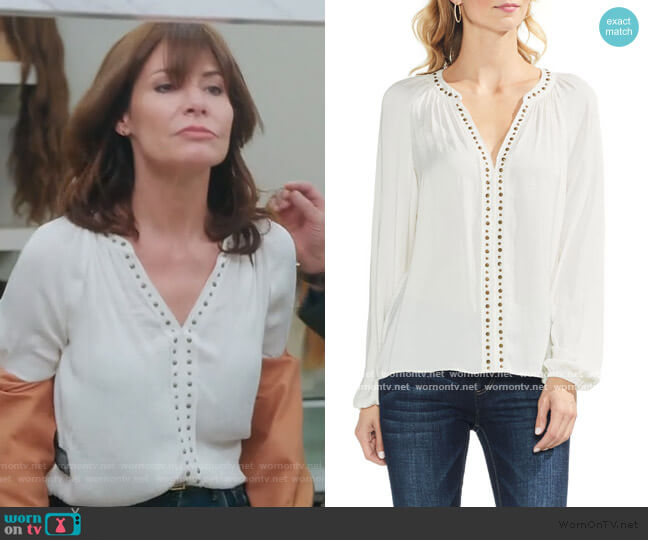 Studded V-neck Top by Vince Camuto worn by Luann de Lesseps  on The Real Housewives of New York City