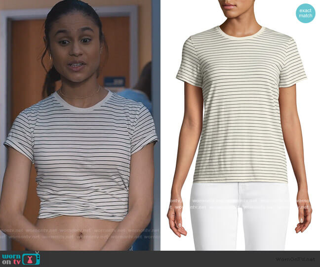 White Striped T-Shirt by Vince worn by Sophia Greenleaf (Desiree Ross) on Greenleaf