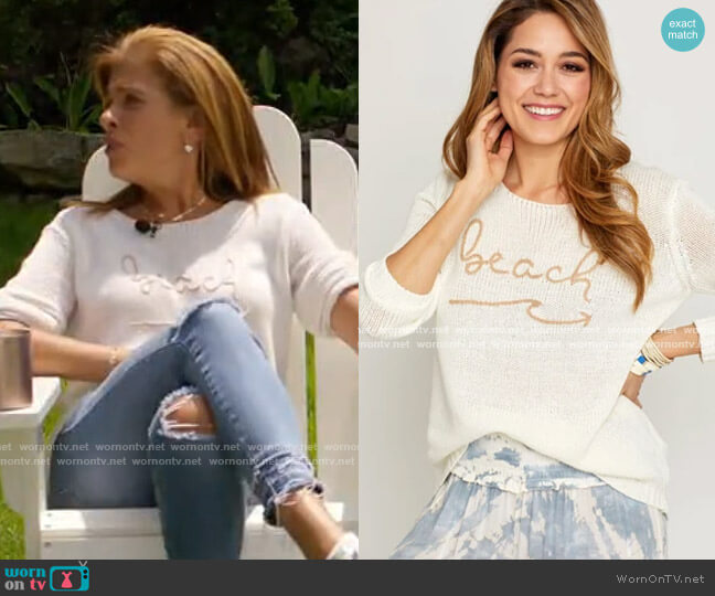 Beach Graphic Sweater by Vintage Havana worn by Hoda Kotb  on Today
