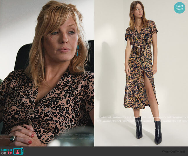 Leopard Shirt Dress by Aritzia worn by Beth Dutton (Kelly Reilly) on Yellowstone