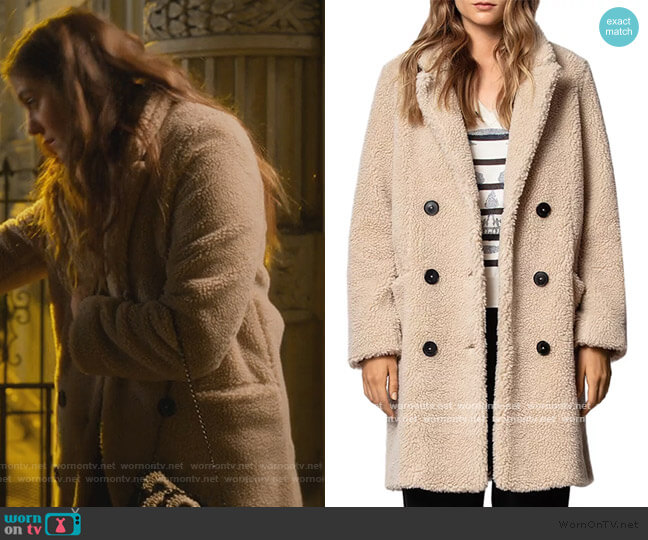 Mint Teddy-Bear Coat by Zadig & Voltaire worn by McAfee (Laura Dreyfuss) on The Politician