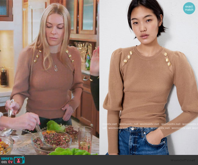 Button Detail Sweater by Zara worn by Leah McSweeney  on The Real Housewives of New York City