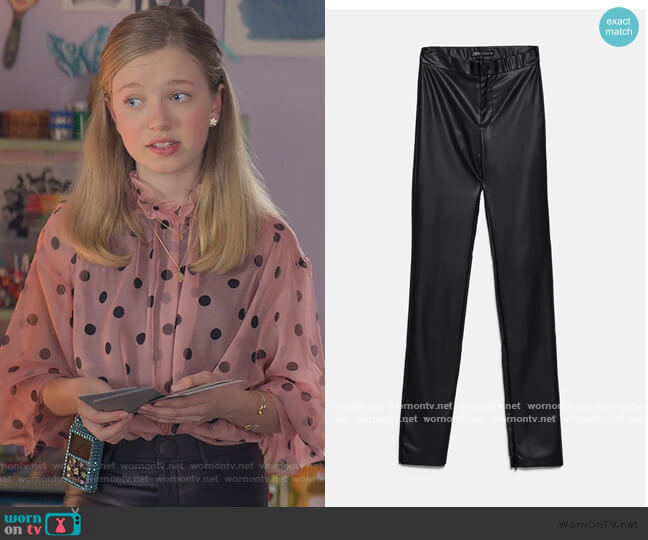 Extra Long Faux Leather Leggings by Zara worn by Stacey McGill (Shay Rudolph) on The Baby-Sitters Club