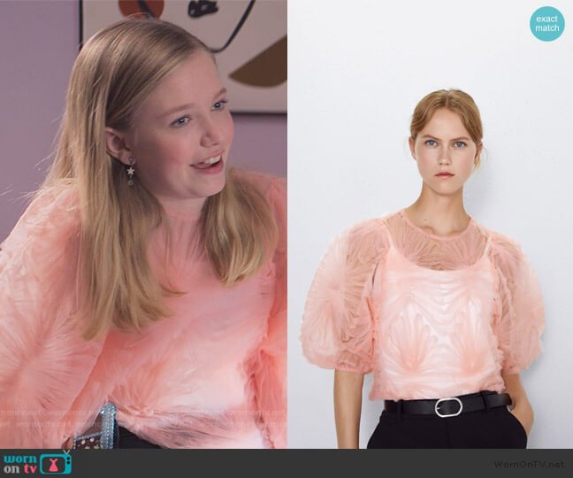 Tulle Ruffle Top by Zara worn by Stacey McGill (Shay Rudolph) on The Baby-Sitters Club
