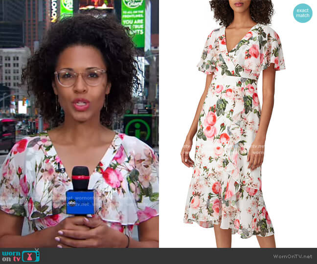 Floral Flutter Sleeve Dress by Adrianna Papell worn by Adrienne Bankert  on Good Morning America