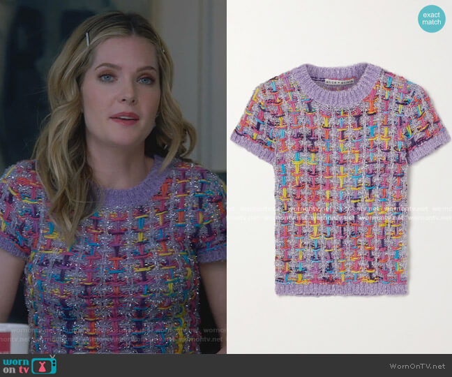 Ciara Cropped Metallic Knitted Sweater by Alice + Olivia worn by Sutton (Meghann Fahy) on The Bold Type