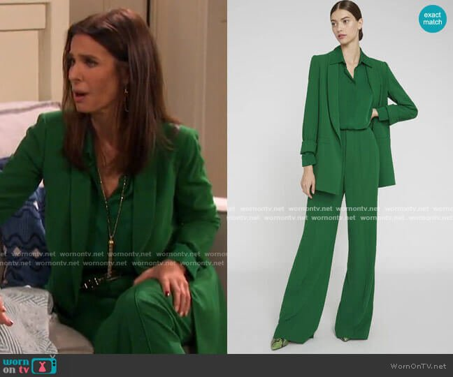 Willa Placket Top and Kylie Blazer and Dylan Pants by Alice + Olivia worn by Hope Williams (Kristian Alfonso) on Days of our Lives