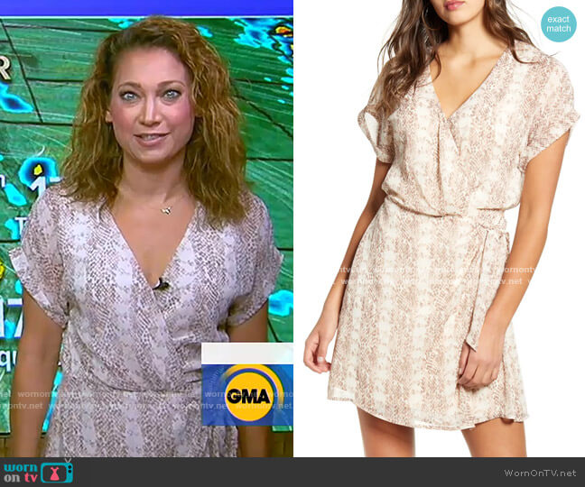 Simone Floral Wrap Front Minidress by All in Favor worn by Ginger Zee  on Good Morning America