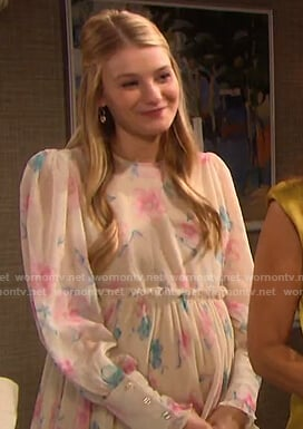 Allie's beige floral ruffle-waist dress on Days of our Lives