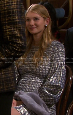 Allie's metallic check mini dress on Days of our Lives