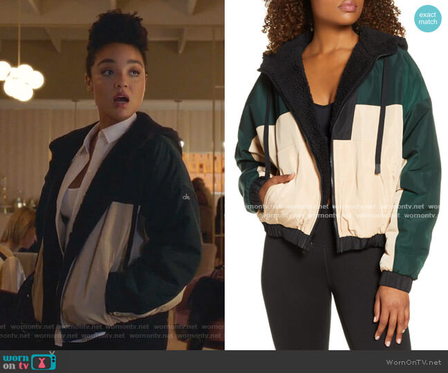 Duality Reversible Faux Shearling Jacket by Alo Yoga  worn by Kat Edison (Aisha Dee) on The Bold Type