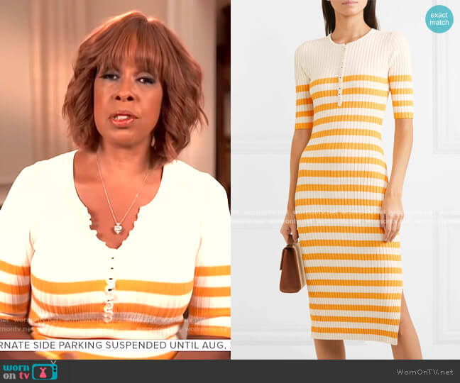 Sunday Striped Ribbed Stretch-Knit Midi Dress by Altuzarra worn by Gayle King  on CBS This Morning