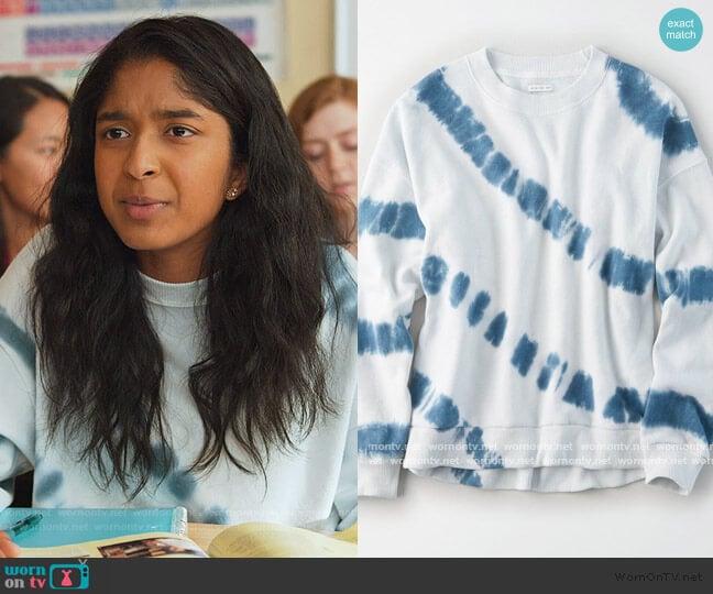Tie Dye Sweatshirt by American Eagle worn by Devi Vishwakumar (Maitreyi Ramakrishnan) on Never Have I Ever