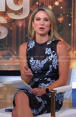 Amy's black and blue lace sleeveless dress on Good Morning America