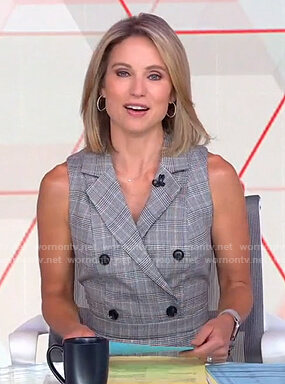 Amy's grey plaid sleeveless jumpsuit on Good Morning America