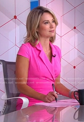 Amy's pink short sleeve surplice dress on Good Morning America