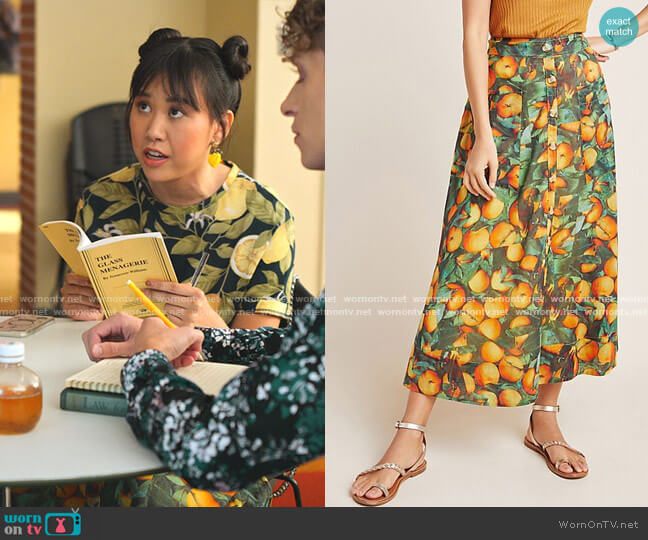 Summer Orchard Skirt by Maeve worn by Eleanor Wong (Ramona Young) on Never Have I Ever