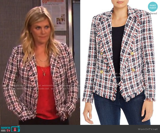 Plaid Tweed Open-Front Blazer by Aqua  worn by Sami Brady (Alison Sweeney) on Days of our Lives