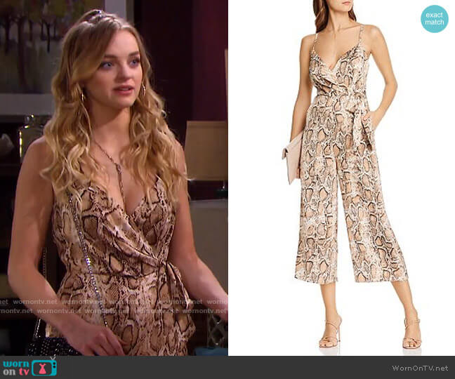 Snake Print Wide-Leg Jumpsuit by Aqua worn by Claire Brady (Olivia Keegan) on Days of our Lives