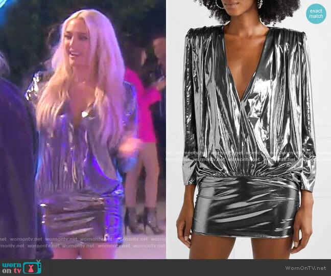 Draped Stretch-Lamé Mini Dress by The Attico worn by Erika Girardi  on The Real Housewives of Beverly Hills
