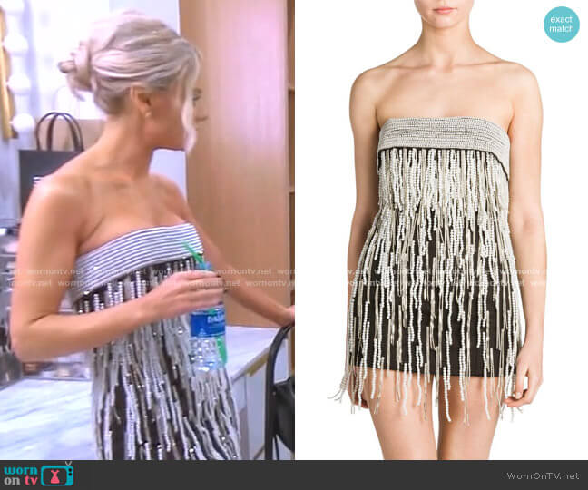 Strapless Pearl Embellished Mini Dress by Attico worn by Dorit Kemsley  on The Real Housewives of Beverly Hills