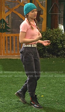Ava's black floral embroidered boots on Bunkd