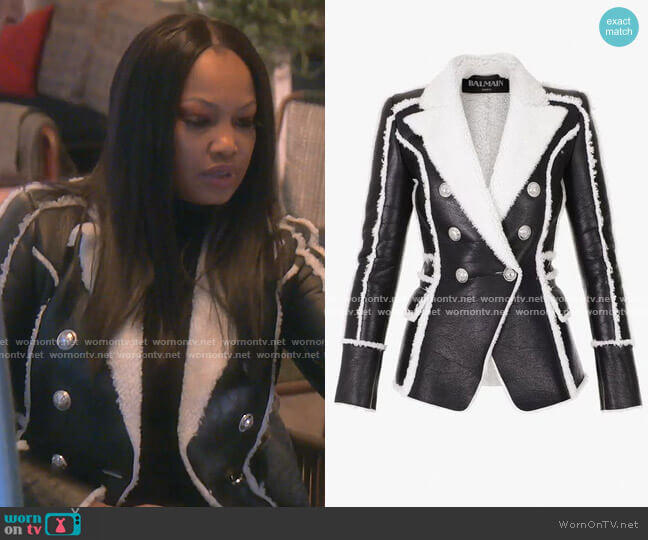 Black and white Shearling Jacket by Balmain worn by Garcelle Beauvais  on The Real Housewives of Beverly Hills